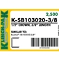 Klinch-Pak K-SB103020 -3/8 inch Galvanized Staple - Case Pack