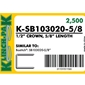 Klinch-Pak K-SB103020 - 5/8 inch Galvanized Staple - Case Pack