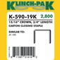 Klinch Pak - K-590-19  3/4 inch Staples - Case