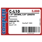 "Complete C-L10 18 Gauge, 1/4"" Narrow Crown Staples"