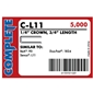 "Complete C-L11 18 Gauge, 1/4"" Narrow Crown Staples"