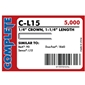 "Complete C-L15 18 Gauge, 1/4"" Narrow Crown Staples - 1 1/4 inch"