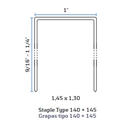 BeA 145/16 NK 1 Inch Crown Galvanized Staples - 5/8 inch