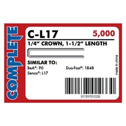"Complete C-L17 18 Gauge, 1/4"" Narrow Crown Staples - 1 1/2 inch"