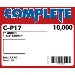 "Complete C-P17 16 Gauge, 1"" Wide Crown Staples - 1 1/2 inch"