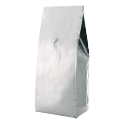 5lb (2.2kg)  Foil Gusseted Bags - WITH VALVE - Silver