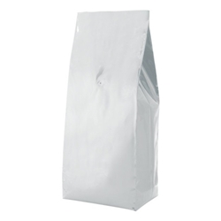 5lb (2.2kg)  Foil Gusseted Bags - WITH VALVE - White
