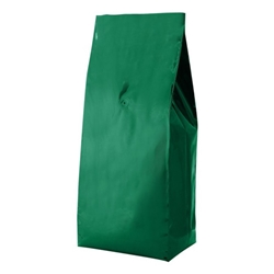 5lb (2.2kg)  Foil Gusseted Bags - WITH VALVE - Green