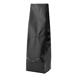 12-16oz. (450g) Side Seal Foil Gusseted Bags - WITH VALVE - Black