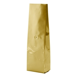 6-10oz. (225g) Side Seal Foil Gusseted Bags - WITH VALVE - Gold