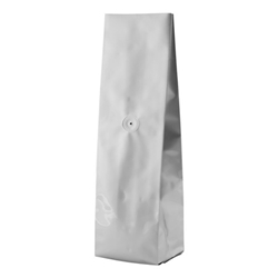 6-10oz. (225g) Side Seal Foil Gusseted Bags - WITH VALVE - Silver