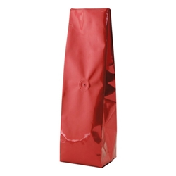 6-10oz. (225g) Side Seal Foil Gusseted Bags - WITH VALVE - Red