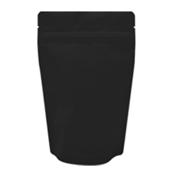 4oz (110g) Stand Up Pouch Zip Pouches – Matte Black with Valve