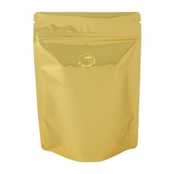 4oz (110g) Metallized Stand Up Pouch Zip Pouches – SATIN GOLD WITH VALVE