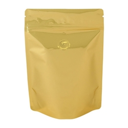 8oz (225g) Metallized Stand Up Pouch Zip Pouches – GOLD WITH VALVE