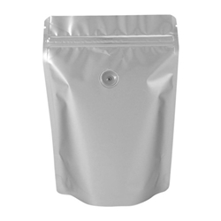 8oz (225g) Metallized Stand Up Pouch Zip Pouches – SILVER WITH VALVE